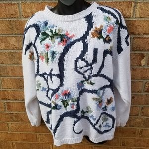Vintage Chunky White Floral Knit Sweater